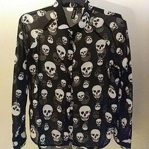 Fun Flirt Sheer Black Gray Skull Shirt Large